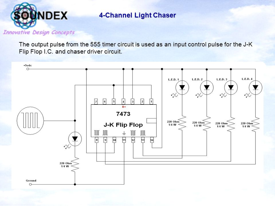 4-Channel Light Chaser The output pulse from the 555 timer circuit is used as an input control pulse for the J-K Flip Flop I.C.