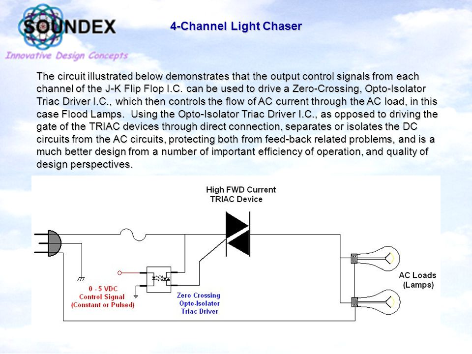 4-Channel Light Chaser The circuit illustrated below demonstrates that the output control signals from each channel of the J-K Flip Flop I.C.