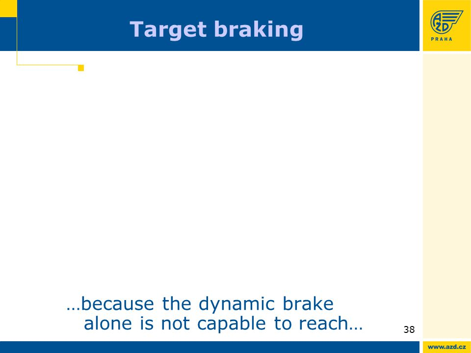 ATO AVV presentation 09/200938 Target braking …because the dynamic brake alone is not capable to reach…