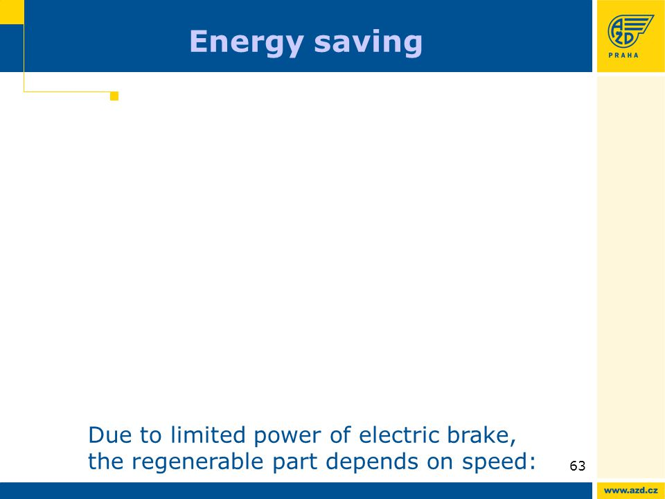 ATO AVV presentation 09/200963 Energy saving Due to limited power of electric brake, the regenerable part depends on speed: