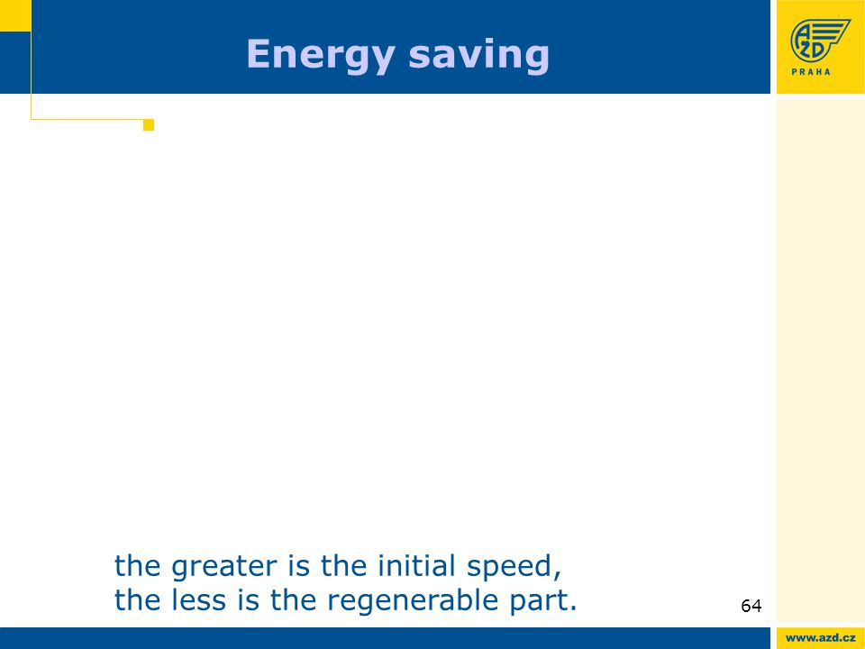 ATO AVV presentation 09/200964 Energy saving the greater is the initial speed, the less is the regenerable part.