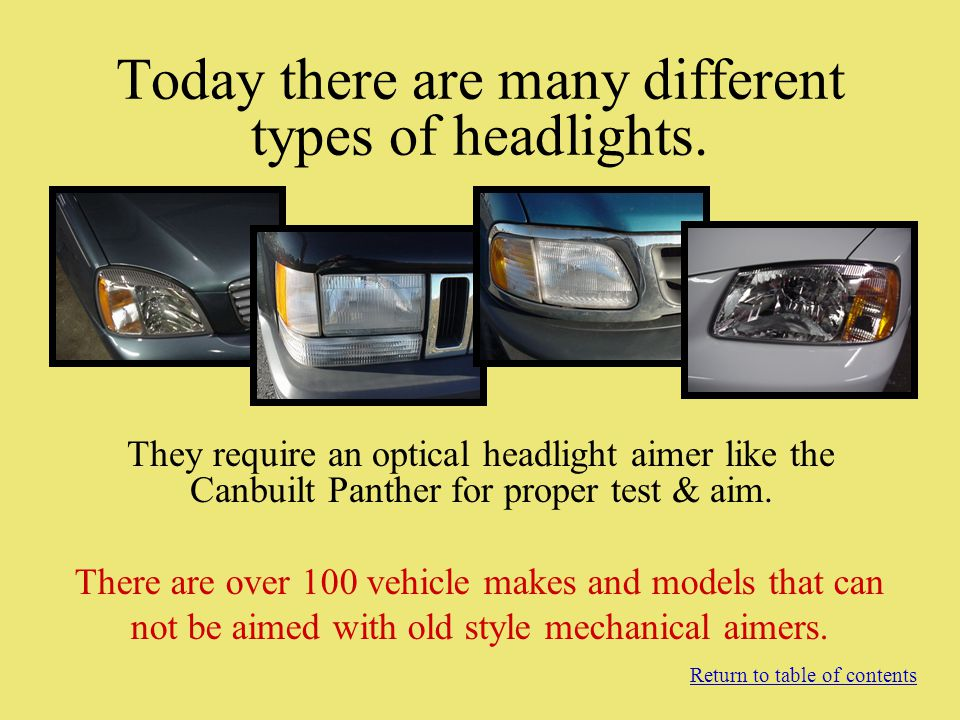 Today there are many different types of headlights. They require an optical headlight aimer like the Canbuilt Panther for proper test & aim. Return to