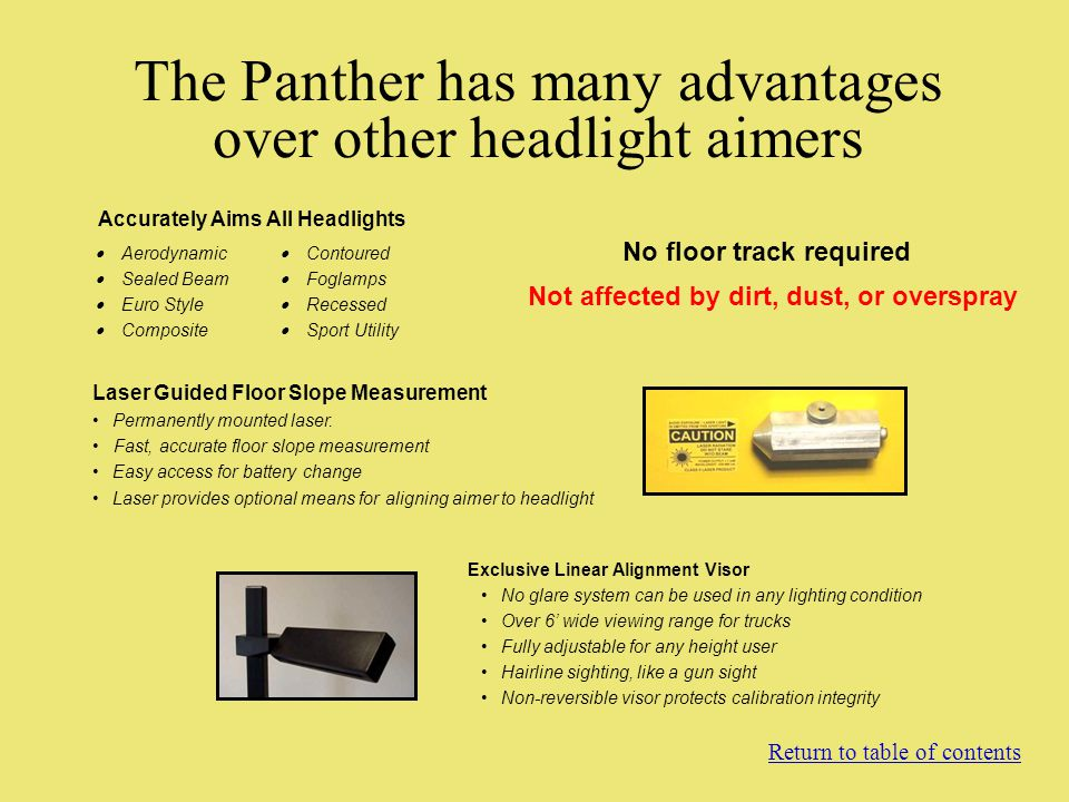 The Panther has many advantages over other headlight aimers Aerodynamic Sealed Beam Euro Style Composite Accurately Aims All Headlights Contoured Fogl