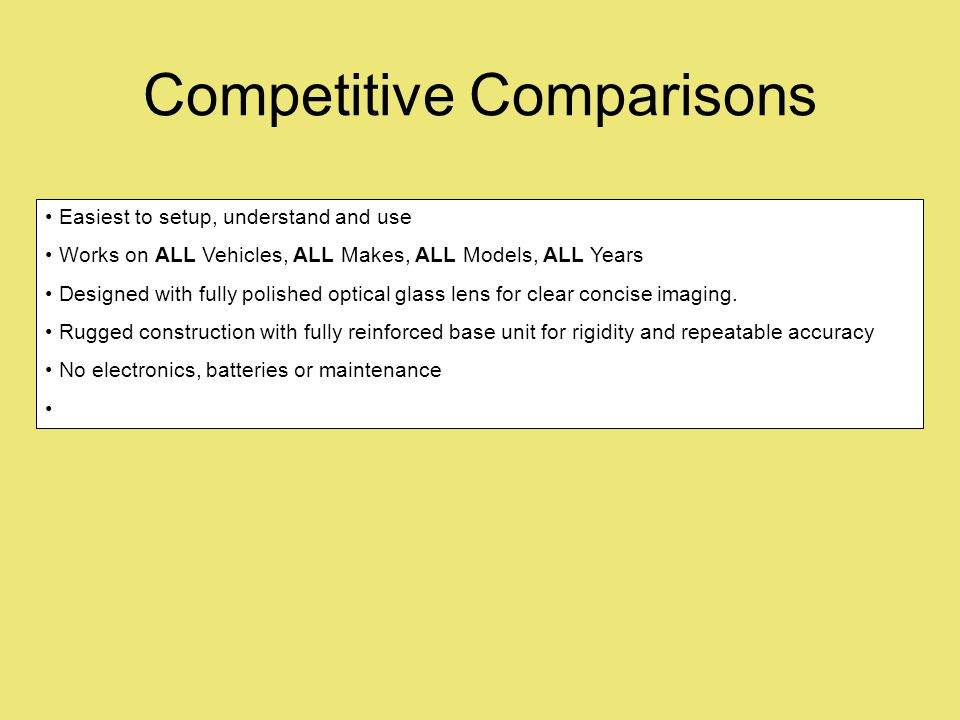 Competitive Comparisons Easiest to setup, understand and use Works on ALL Vehicles, ALL Makes, ALL Models, ALL Years Designed with fully polished opti