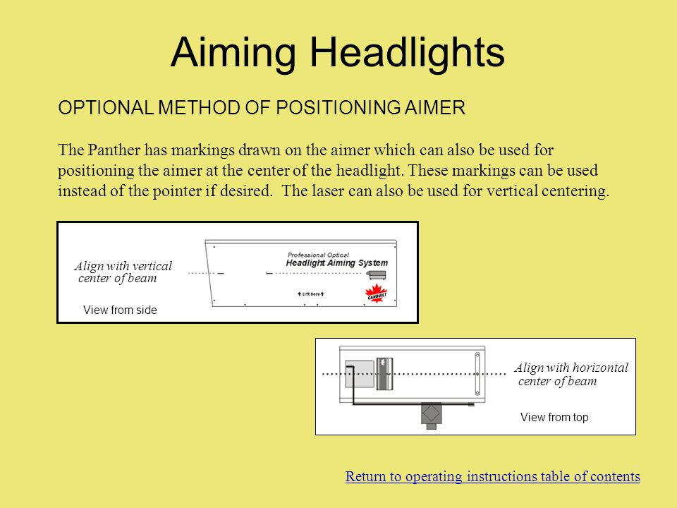 OPTIONAL METHOD OF POSITIONING AIMER The Panther has markings drawn on the aimer which can also be used for positioning the aimer at the center of the