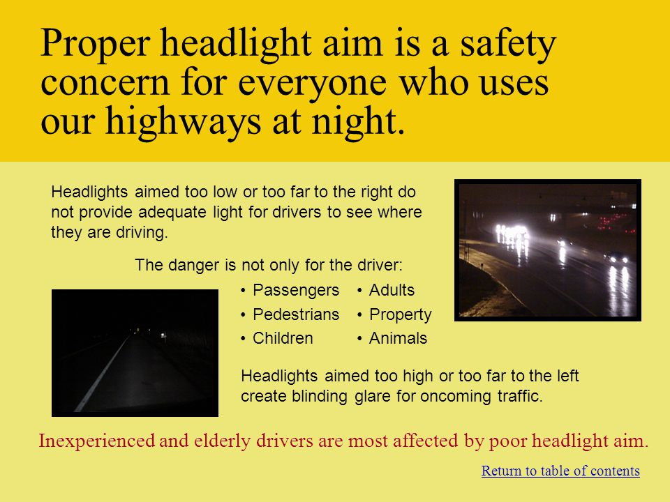 Different Types of Headlights AIMING HIGH BEAM HEADLAMPS AND AUXILIARY DRIVING LIGHTS Return to operating instructions table of contents High beam headlamps and auxiliary driving lights are aimed so that the center of the high-intensity zone is located at the horizontal and vertical center of the screen.