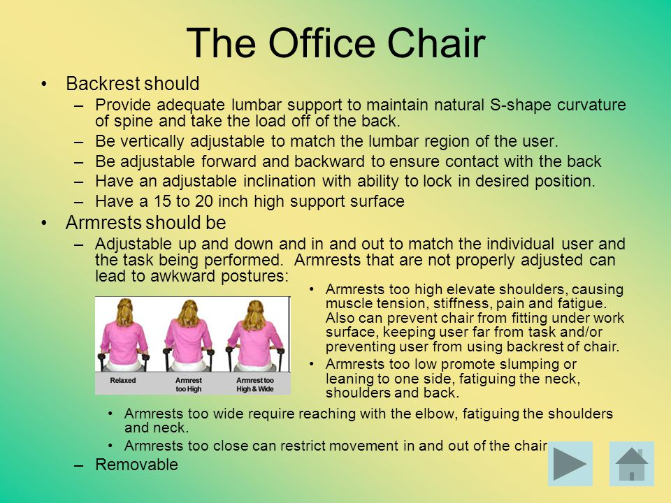 The Office Chair Backrest should –Provide adequate lumbar support to maintain natural S-shape curvature of spine and take the load off of the back. –B