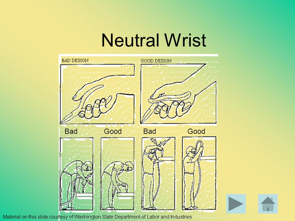 Neutral Wrist Bad Good Material on this slide courtesy of Washington State Department of Labor and Industries