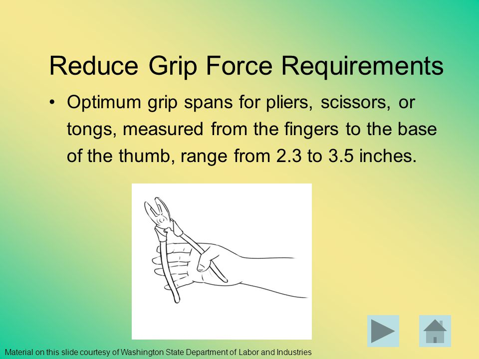 Reduce Grip Force Requirements Optimum grip spans for pliers, scissors, or tongs, measured from the fingers to the base of the thumb, range from 2.3 t
