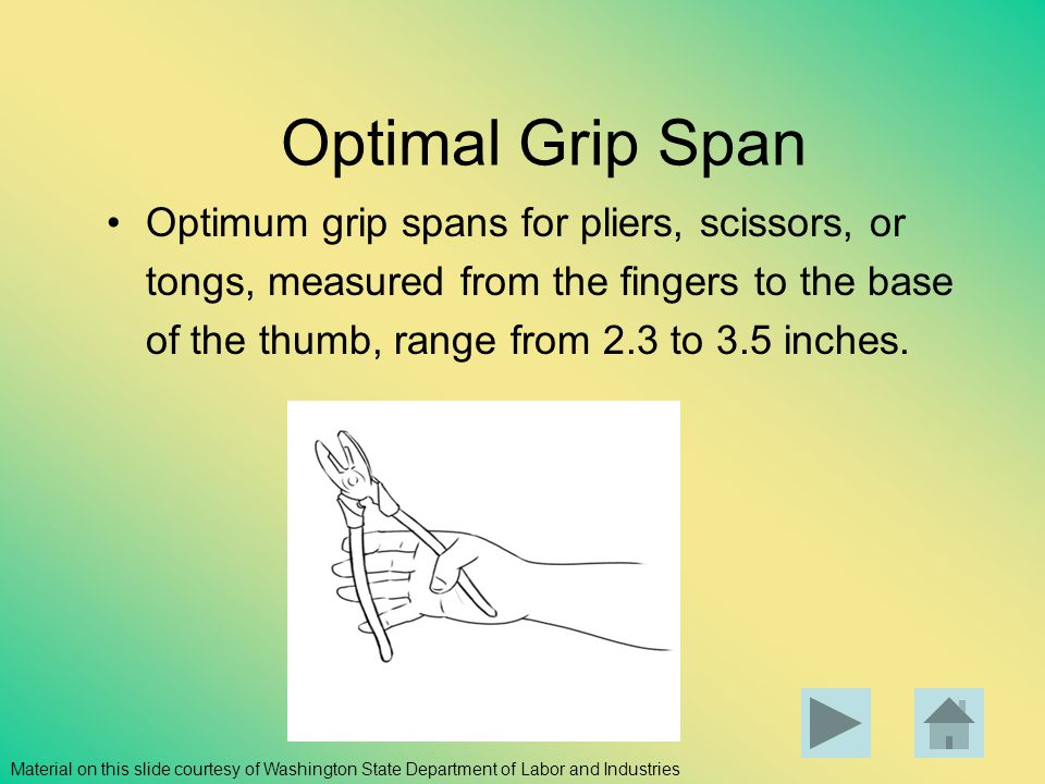 Optimal Grip Span Optimum grip spans for pliers, scissors, or tongs, measured from the fingers to the base of the thumb, range from 2.3 to 3.5 inches.