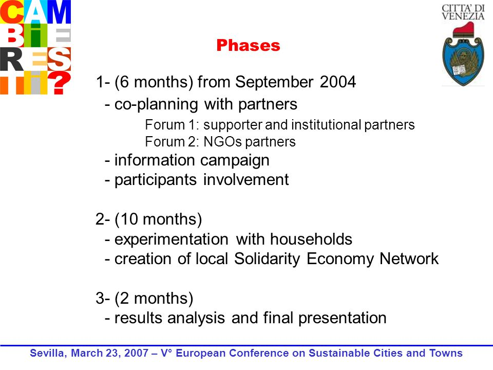 1- (6 months) from September co-planning with partners Forum 1: supporter and institutional partners Forum 2: NGOs partners - information campaign - participants involvement 2- (10 months) - experimentation with households - creation of local Solidarity Economy Network 3- (2 months) - results analysis and final presentation Phases Sevilla, March 23, 2007 – V° European Conference on Sustainable Cities and Towns