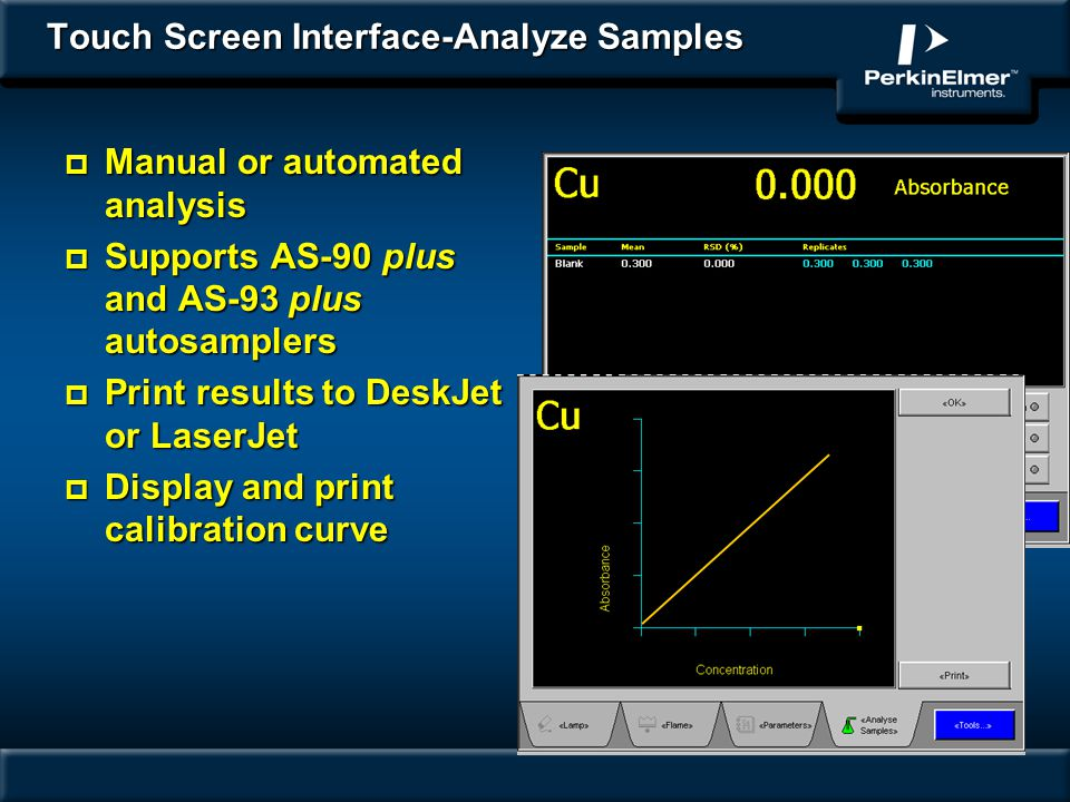 Touch Screen Interface-Analyze Samples p Manual or automated analysis p Supports AS-90 plus and AS-93 plus autosamplers p Print results to DeskJet or