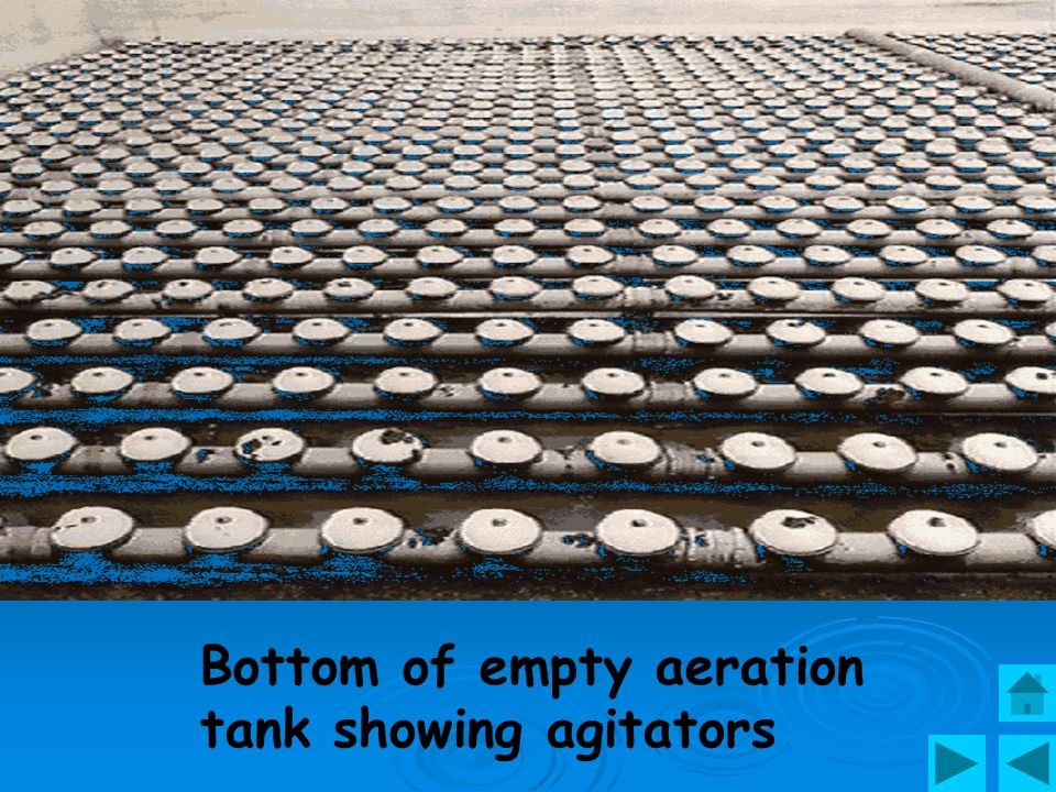 Secondary treatment is speeded up by blowing air in tanks of sewage where micro- organisms float freely & feed on bacteria.
