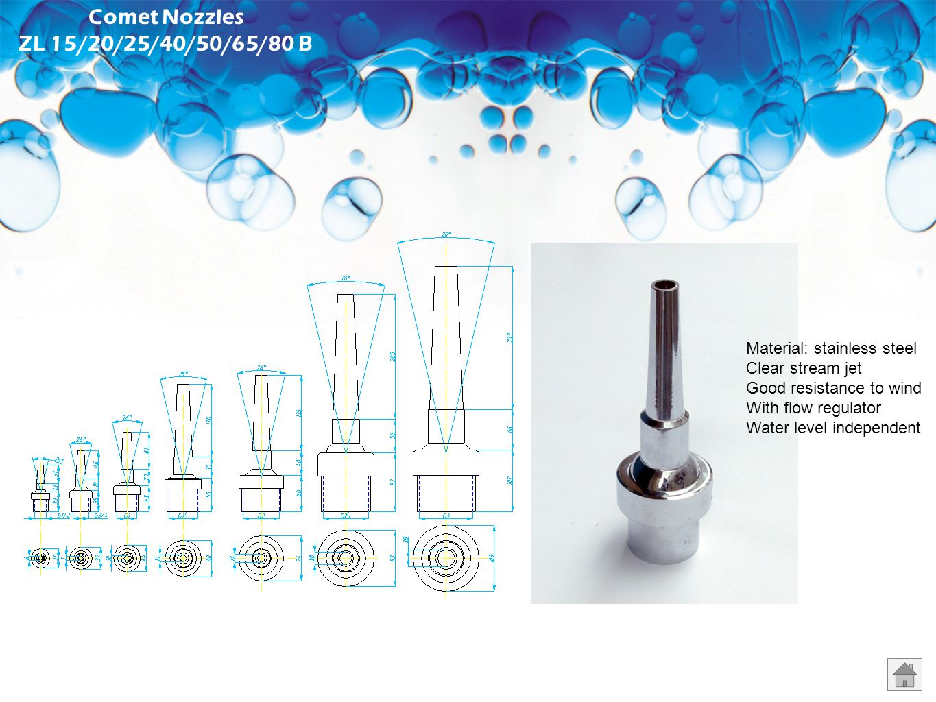 Foam Nozzles Material: chromed plated bronze Foamy effect Good resistance to wind Water saving Water level dependent