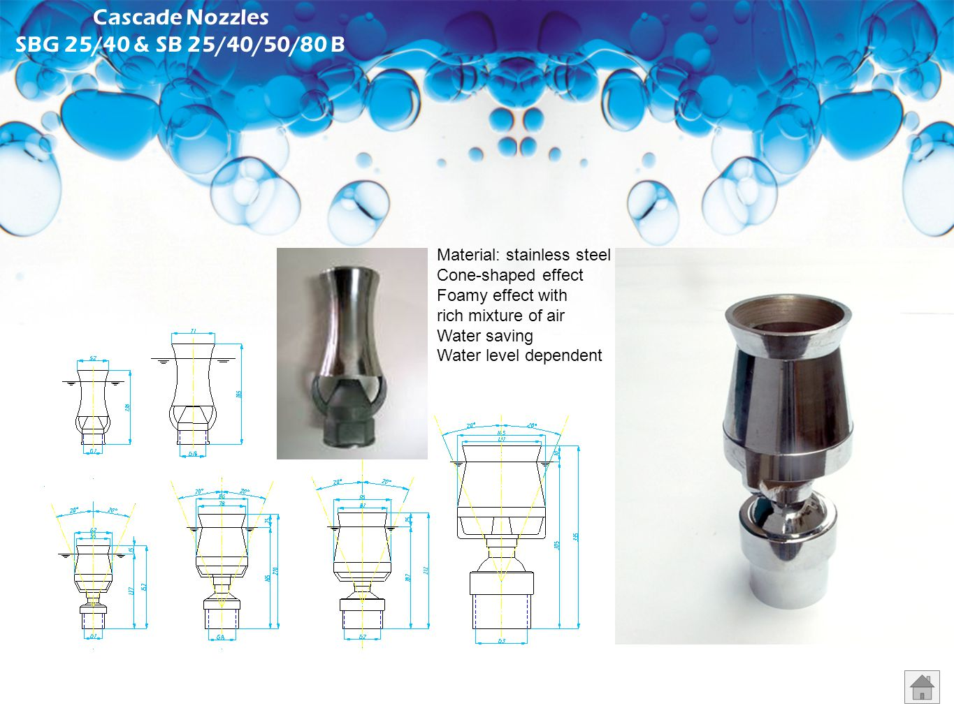 Comet Nozzles ZL 15/20/25/40/50/65/80 B Material: stainless steel Clear stream jet Good resistance to wind With flow regulator Water level independent