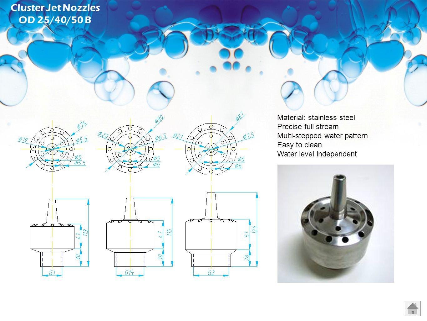 Water Bell Nozzles MN25/40/50 B Material: stainless steel Transparent water film Adjustable bell diameter Silent running Water level independent