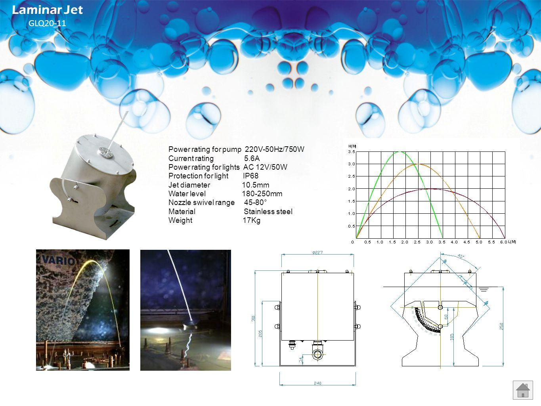 Power rating (per jet) AC 50V/100W Power rating for pump 220V / 50Hz / 750W Current rating 5.6A Power rating for light AC 12V/50W Protection for light
