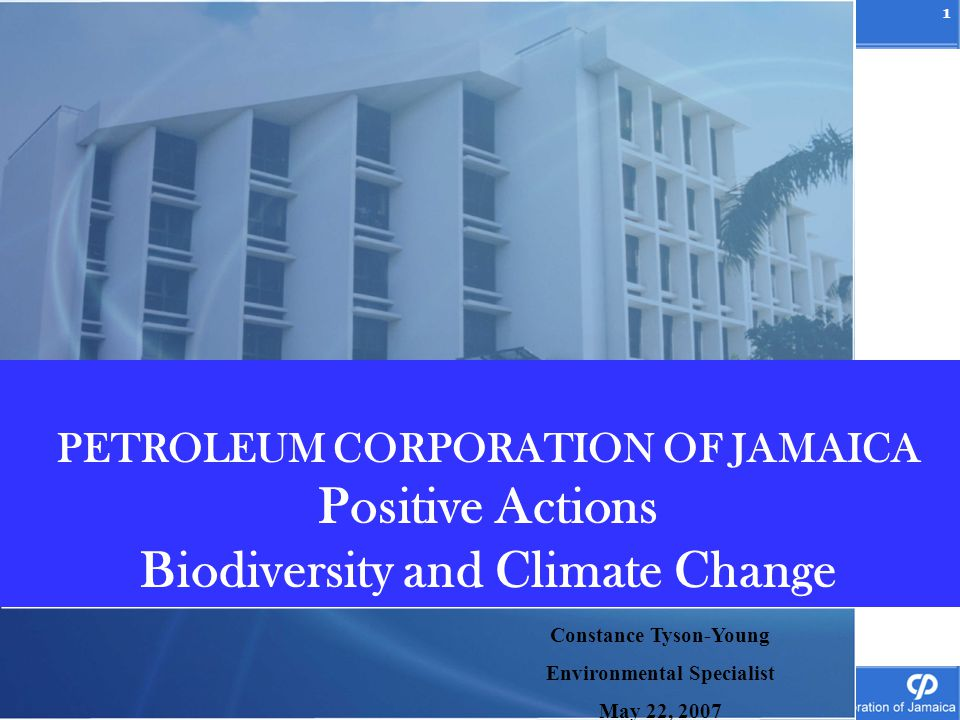 1 Richard McDonald Group Operations Manager Petroleum Corporation of Jamaica PETROLEUM CORPORATION OF JAMAICA Positive Actions Biodiversity and Climat