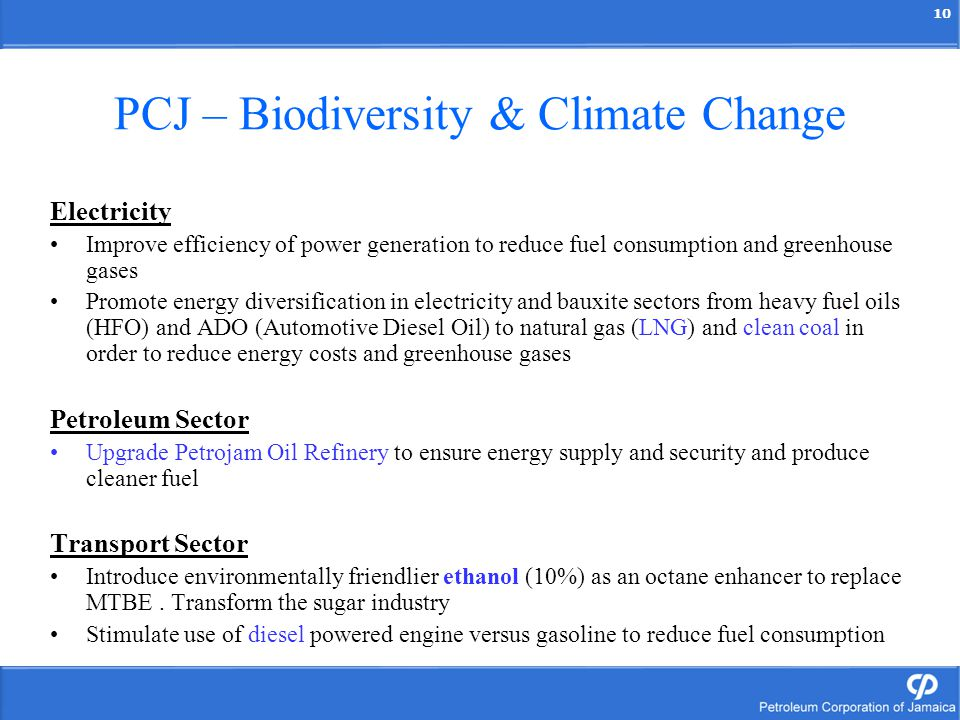 10 PCJ – Biodiversity & Climate Change Electricity Improve efficiency of power generation to reduce fuel consumption and greenhouse gases Promote ener