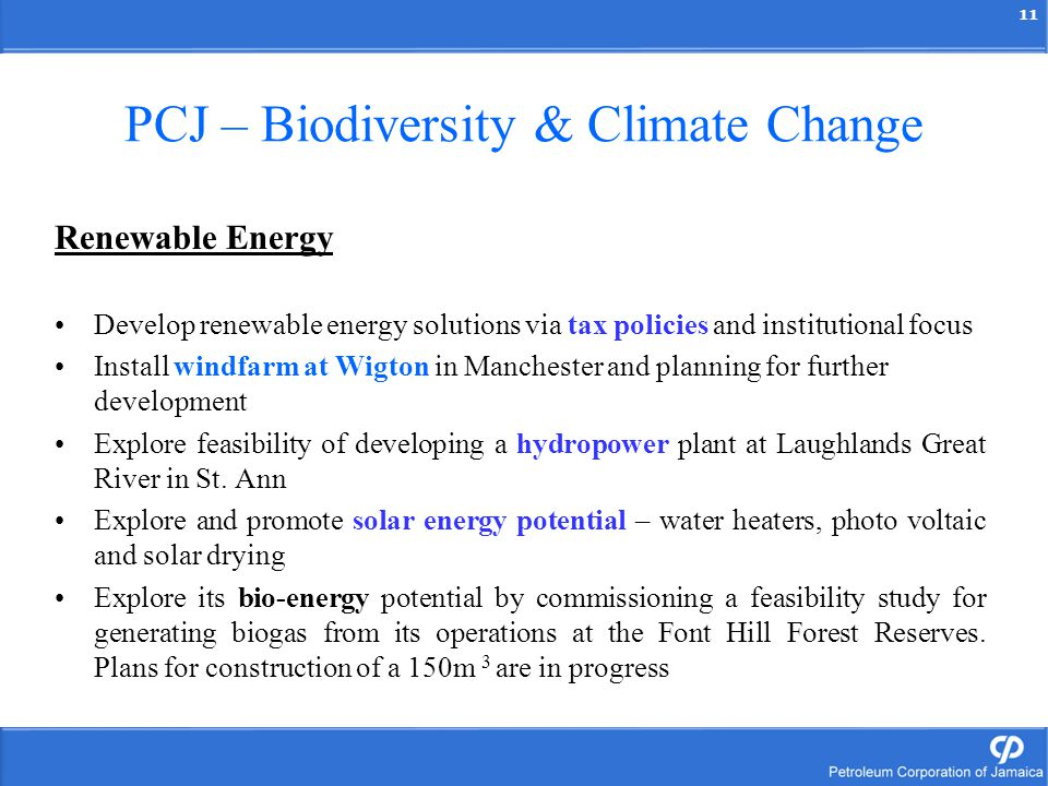 11 PCJ – Biodiversity & Climate Change Renewable Energy Develop renewable energy solutions via tax policies and institutional focus Install windfarm a