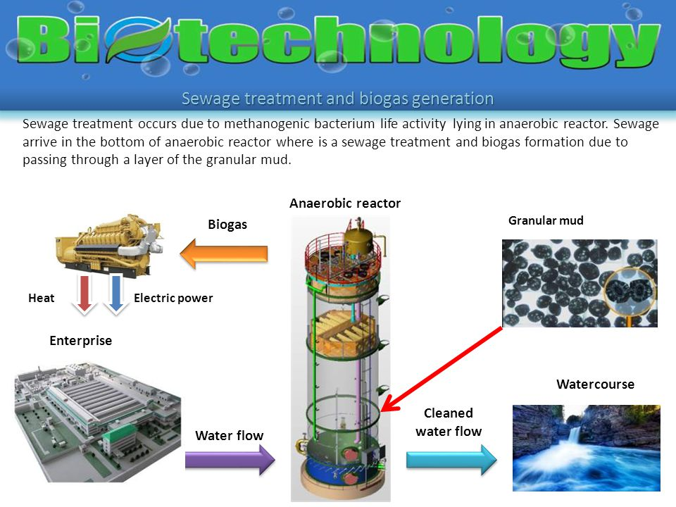 Sewage treatment occurs due to methanogenic bacterium life activity lying in anaerobic reactor. Sewage arrive in the bottom of anaerobic reactor where