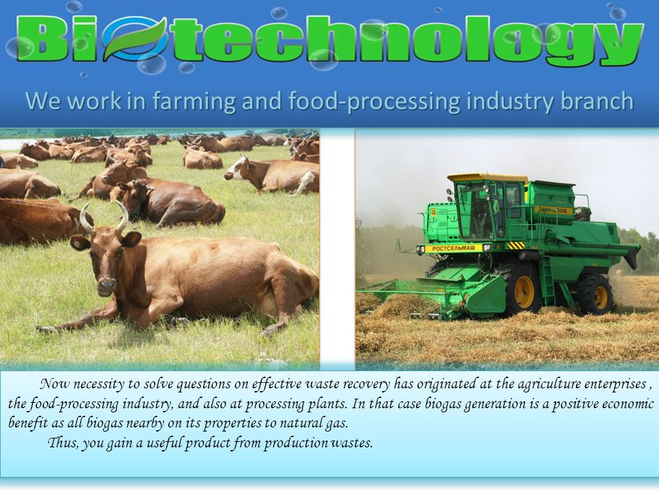 We work in farming and food-processing industry branch Now necessity to solve questions on effective waste recovery has originated at the agriculture