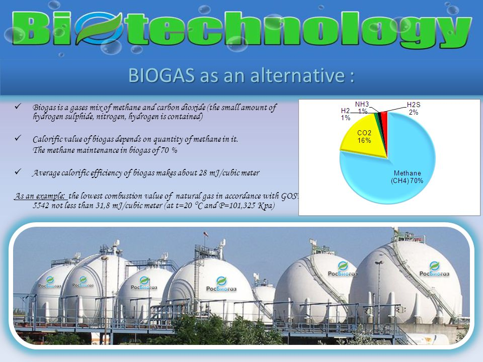 BIOGAS as an alternative : Biogas is a gases mix of methane and carbon dioxide (the small amount of hydrogen sulphide, nitrogen, hydrogen is contained) Calorific value of biogas depends on quantity of methane in it.