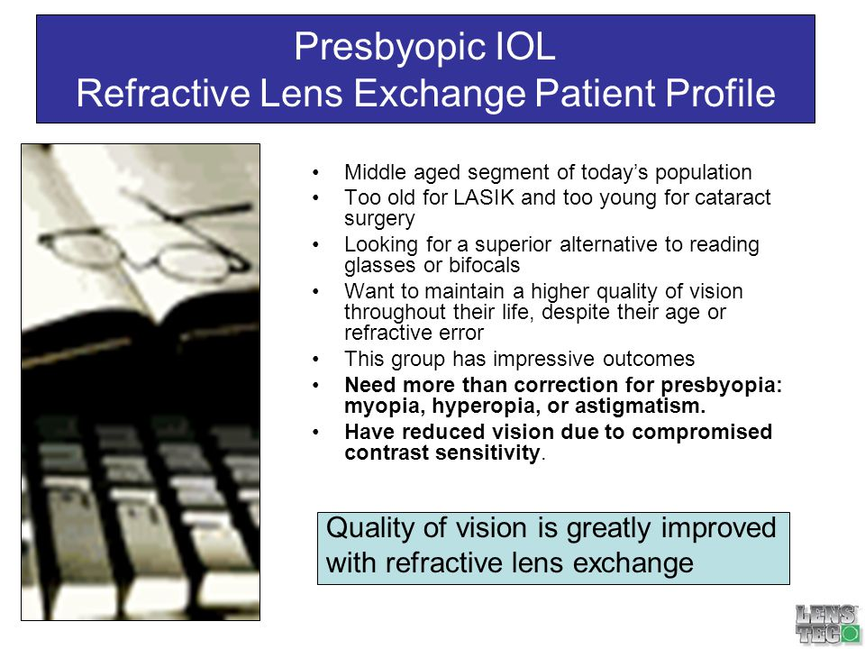 Presbyopic IOL Cataract Patient Lifestyle Profile Wont settle for less Works hard to take advantage of todays technological advancements: flat-screen plasma TV, home entertainment centers, satellite radio, high speed internet Do not settle for the norm; want advancements to reading glasses.