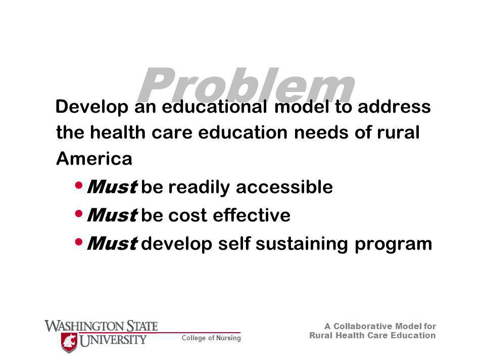 College of Nursing A Collaborative Model for Rural Health Care Education Background Goal of Healthy People 2010 is to eliminate health inequalities among different American population groups (USDHHS, 2001) Lower Medicare reimbursement (37.5 percent less) and aging health care facilities reduce access to care in rural communities