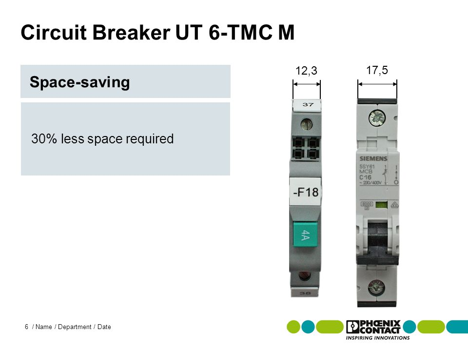 Masterversion 13 6 / Name / Department / Date Circuit Breaker UT 6-TMC M 30% less space required Space-saving 12,3 17,5