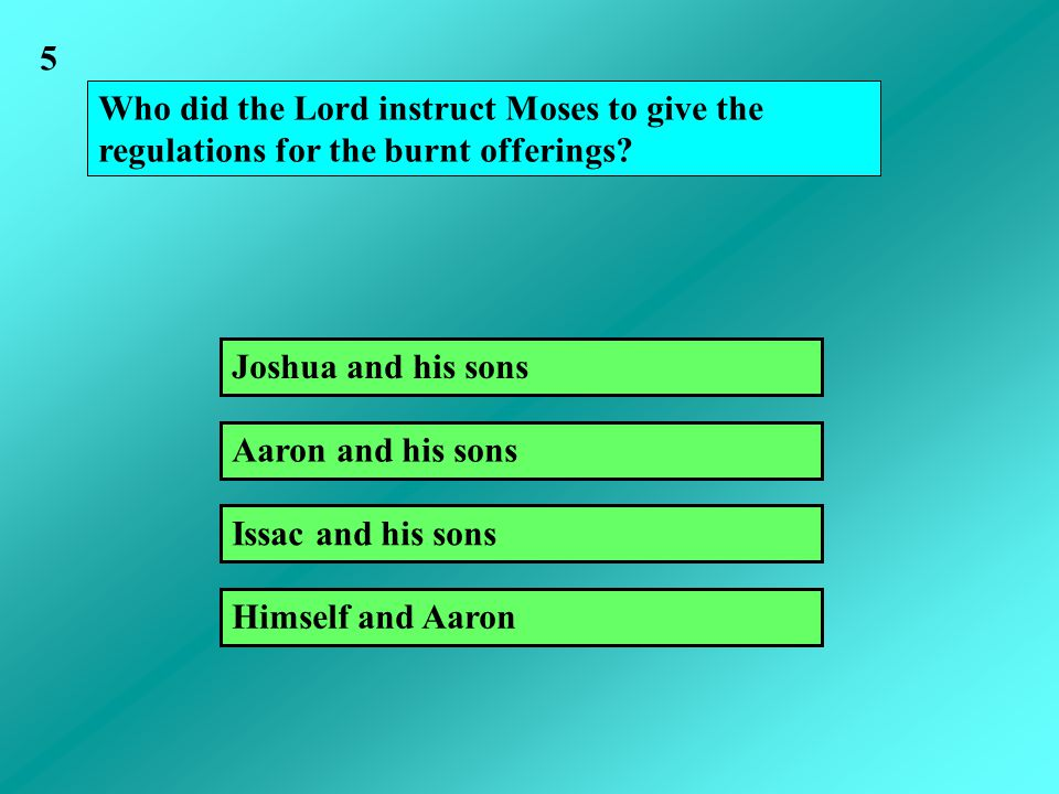 Who did the Lord instruct Moses to give the regulations for the burnt offerings? Joshua and his sons Issac and his sons Aaron and his sons Himself and