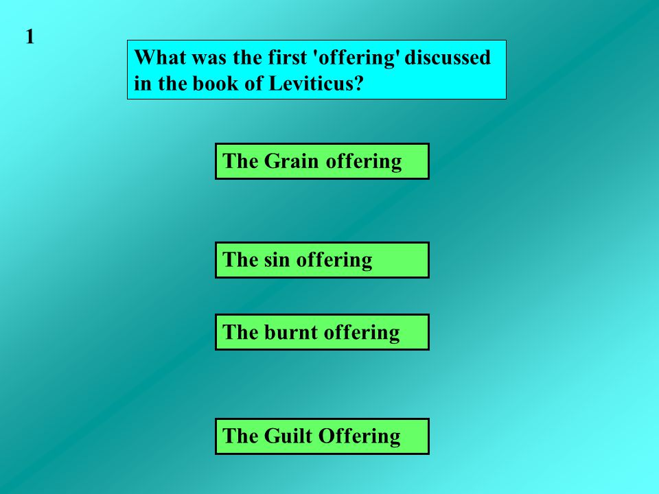 What was the first offering discussed in the book of Leviticus.