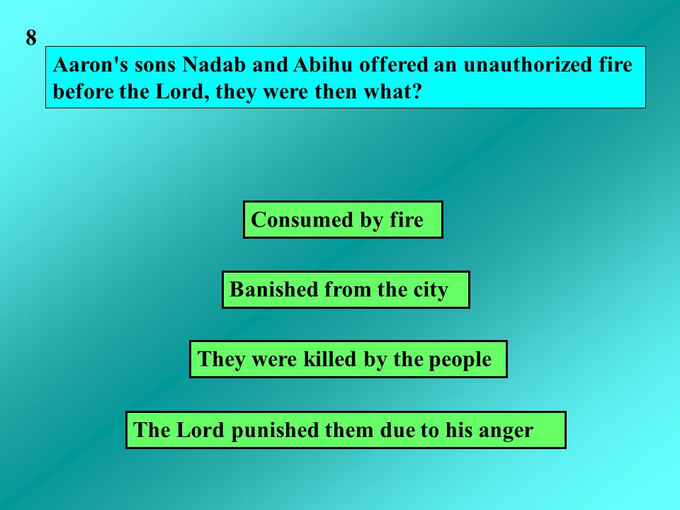 Aaron s sons Nadab and Abihu offered an unauthorized fire before the Lord, they were then what.