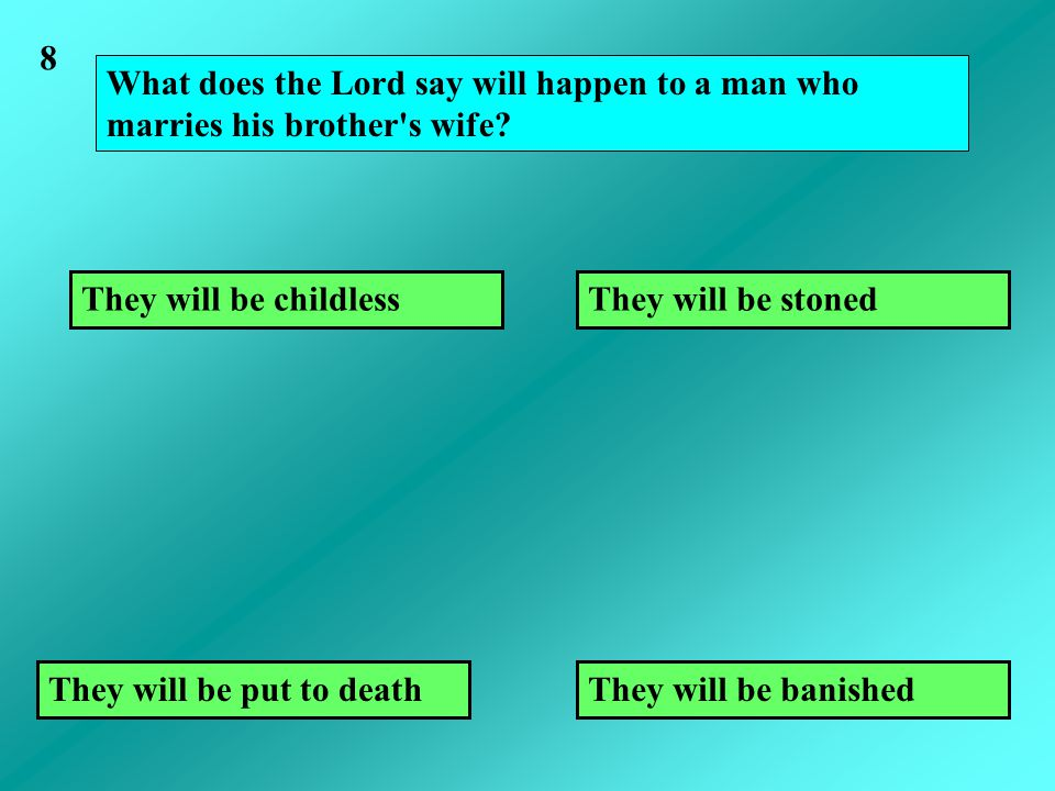 What does the Lord say will happen to a man who marries his brother s wife.