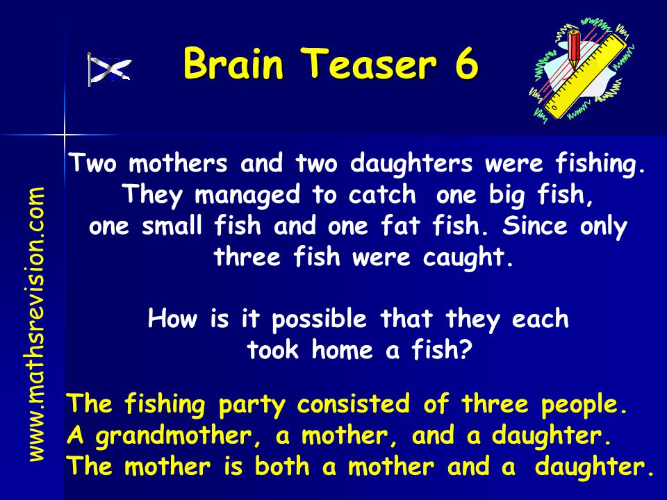 Brain Teaser 6 www.mathsrevision.com Two mothers and two daughters were fishing. They managed to catch one big fish, one small fish and one fat fish.