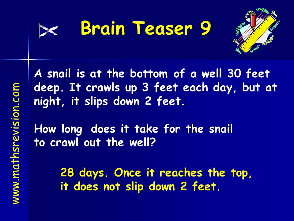 Brain Teaser 9 www.mathsrevision.com A snail is at the bottom of a well 30 feet deep. It crawls up 3 feet each day, but at night, it slips down 2 feet