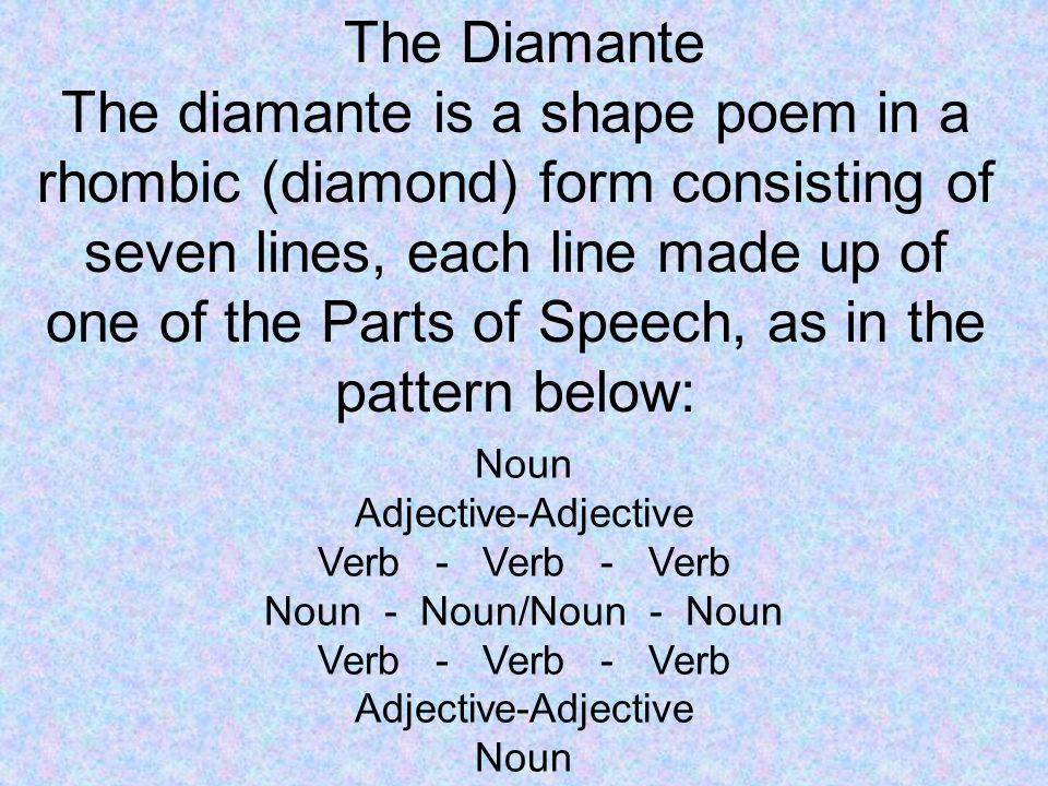 The Diamante Noun Adjective-Adjective Verb - Verb - Verb Noun - Noun/Noun - Noun Verb - Verb - Verb Adjective-Adjective Noun The diamante is a shape poem in a rhombic (diamond) form consisting of seven lines, each line made up of one of the Parts of Speech, as in the pattern below: