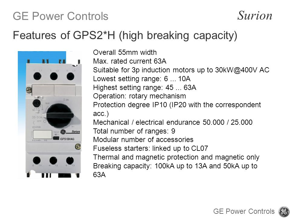 GE Power Controls Surion GE Power Controls Overall 55mm width Max.