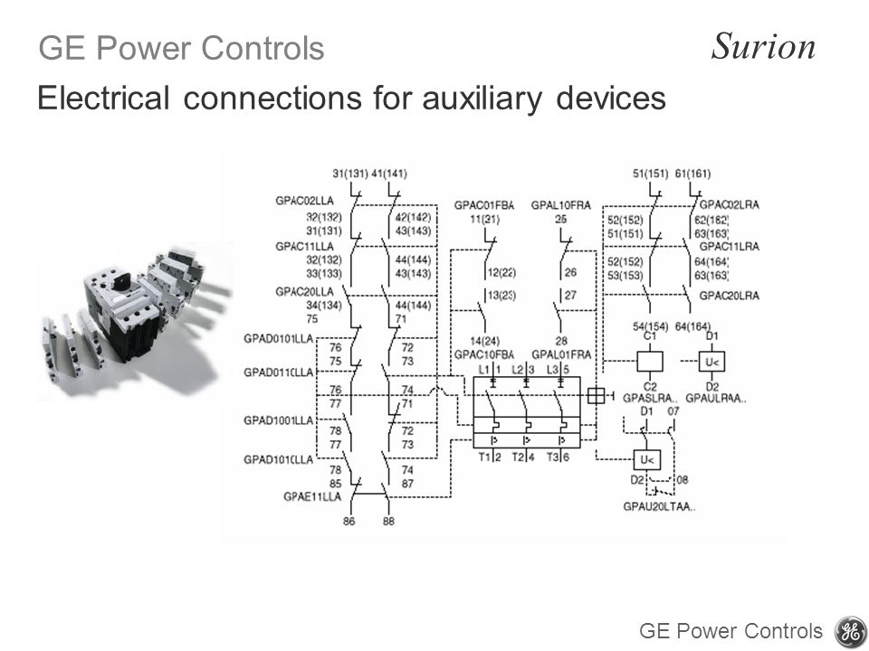GE Power Controls Surion GE Power Controls Electrical connections for auxiliary devices
