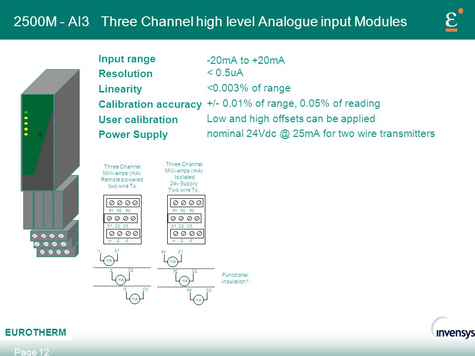 AB C EUROTHERM Page 12 2500M - AI3 Three Channel high level Analogue input Modules Input range Resolution Linearity Calibration accuracy User calibrat