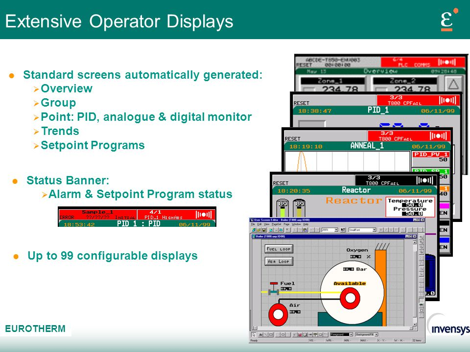 AB C EUROTHERM Extensive Operator Displays l Status Banner: Alarm & Setpoint Program status l Standard screens automatically generated: Overview Group