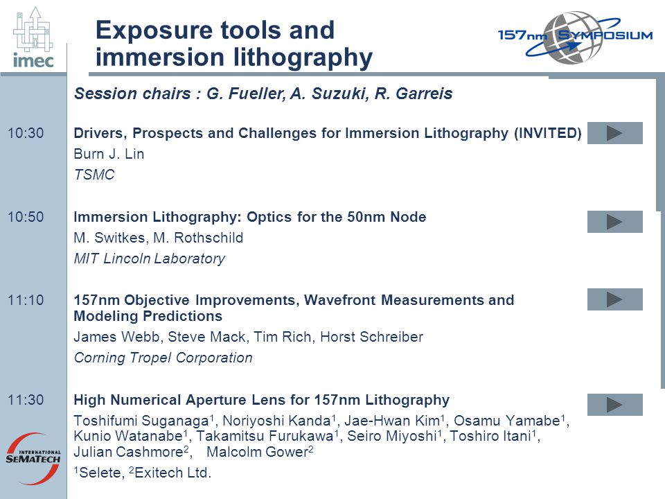 Exposure tools and immersion lithography 10:30Drivers, Prospects and Challenges for Immersion Lithography (INVITED) Burn J.