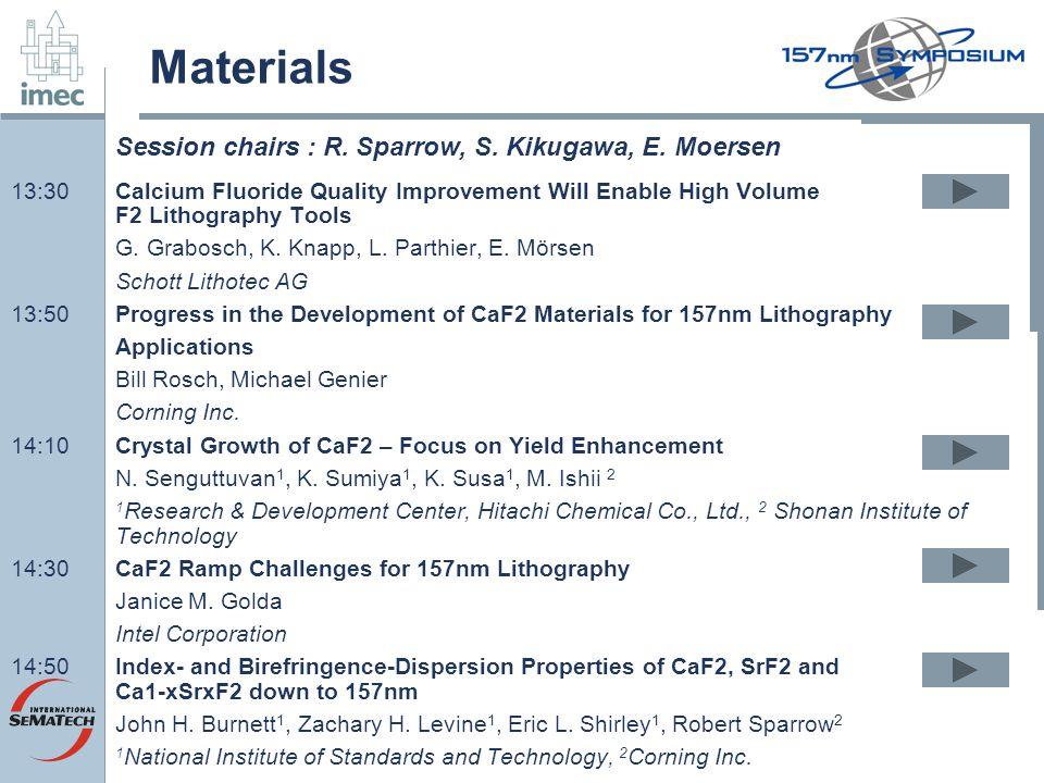 Materials 13:30Calcium Fluoride Quality Improvement Will Enable High Volume F2 Lithography Tools G. Grabosch, K. Knapp, L. Parthier, E. Mörsen Schott