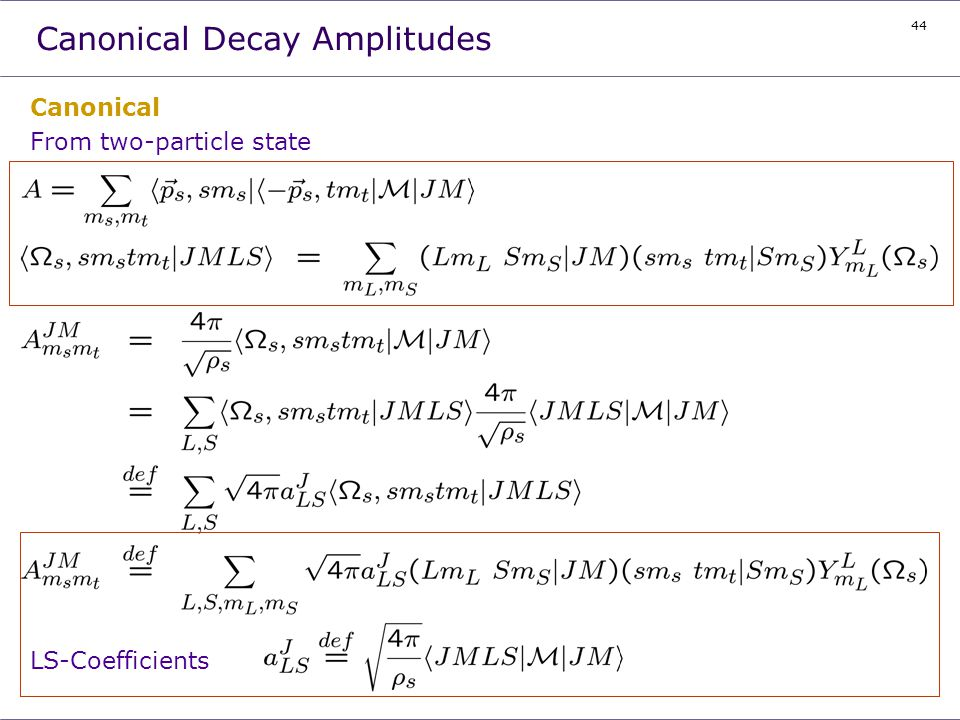 44 Canonical From two-particle state LS-Coefficients Canonical Decay Amplitudes