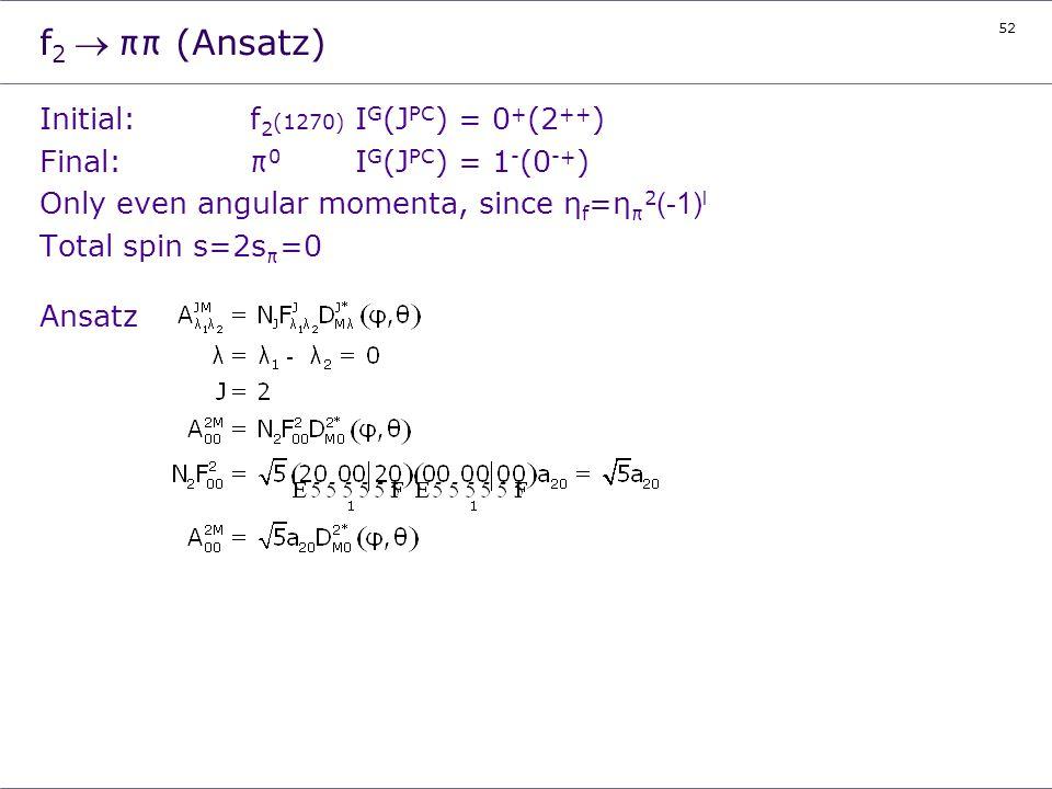 52 f 2ππ (Ansatz) Initial:f 2 (1270) I G (J PC ) = 0 + (2 ++ ) Final:π 0 I G (J PC ) = 1 - (0 -+ ) Only even angular momenta, since η f =η π 2 (-1) l