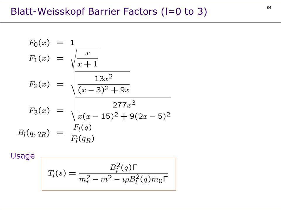 84 Blatt-Weisskopf Barrier Factors (l=0 to 3) Usage