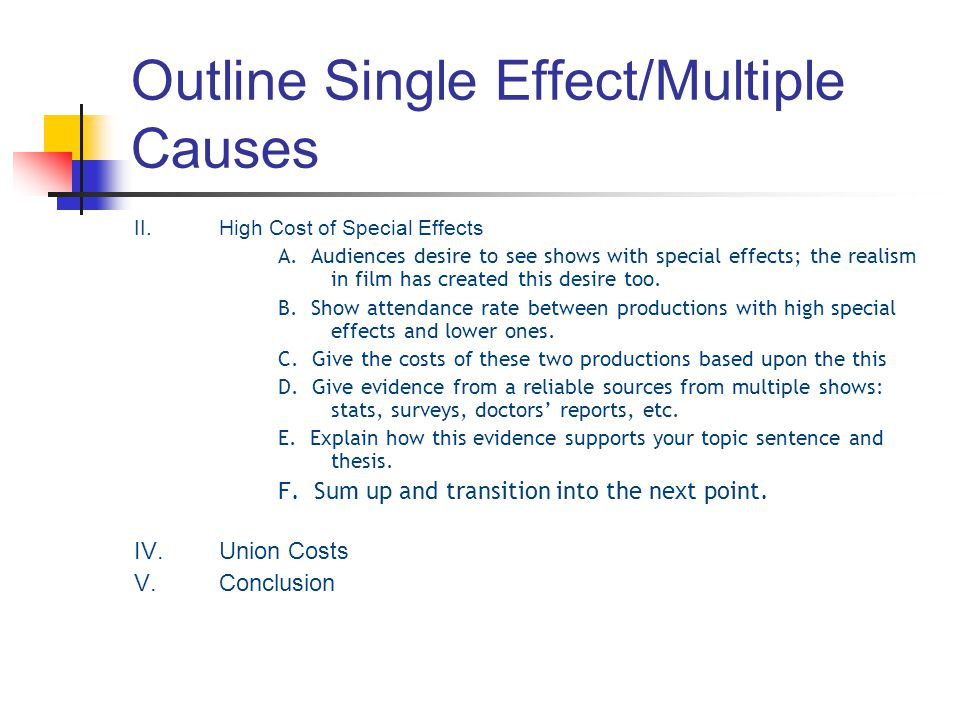 Outline Single Effect/Multiple Causes II.High Cost of Special Effects A. Audiences desire to see shows with special effects; the realism in film has c