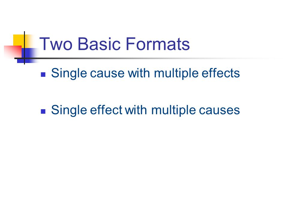 Two Basic Formats Single cause with multiple effects Single effect with multiple causes