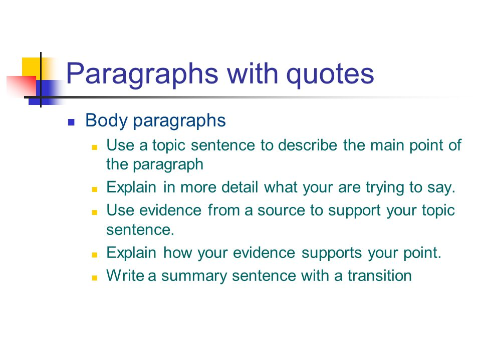 Paragraphs with quotes Body paragraphs Use a topic sentence to describe the main point of the paragraph Explain in more detail what your are trying to say.