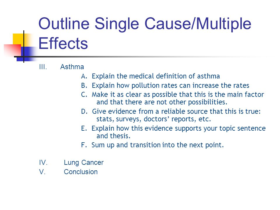 Outline Single Cause/Multiple Effects III. Asthma A. Explain the medical definition of asthma B. Explain how pollution rates can increase the rates C.